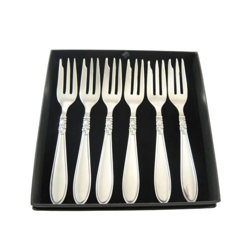 6 Vintage Danish Silver Plate Princess Cake Forks Henrik Fogh