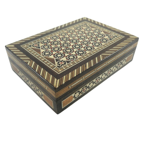Vintage Ornate Inlayed Wooden Cigarette / Jewellery Box