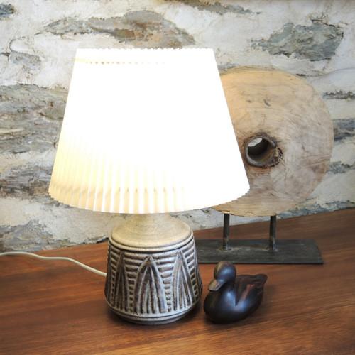 Vintage Danish Mid- Century Art Pottery Table Lamp Signed Meyården