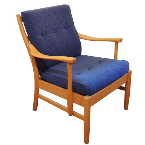 Danish Farstrup Chair with Beech Wood Chair with indigo upholstery