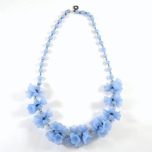 Vintage Venetian Art Glass Blue Flower Bead Necklace