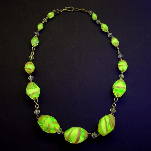 Art Deco Czech/ Austrian Uranium Art Glass Bead Necklace