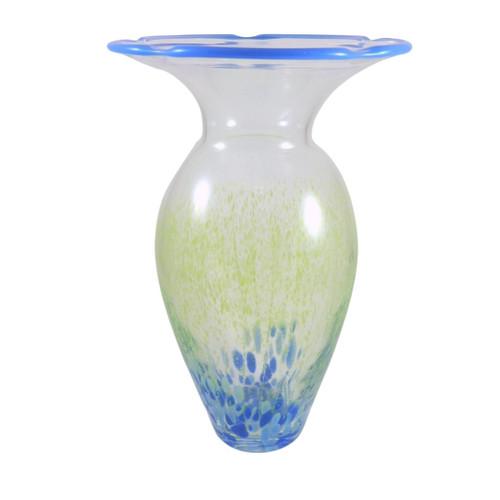 Vintage Kosta Boda large Blue rimmed Vase Signed