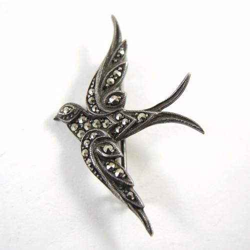 Vintage Australian Sterling Silver Marcasite Swallow Brooch