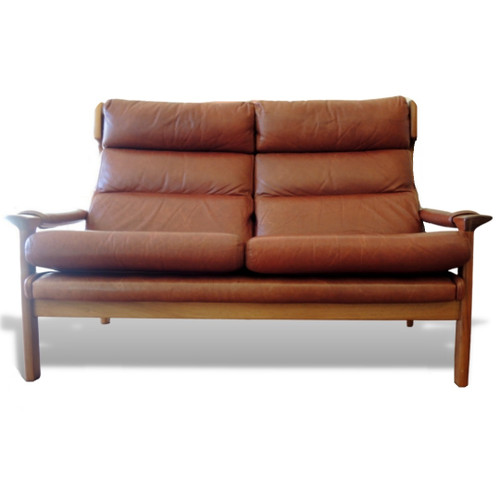 Tessa Delmont Two Seater Leather Sofa Australian Mid-Century Design