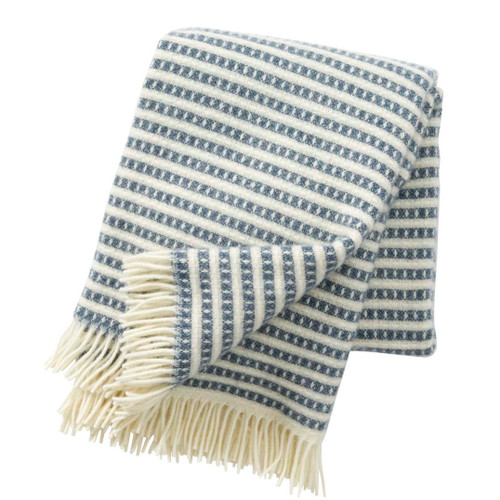 Brand New Klippan Lambs Wool Blanket Olle Smokey Blue