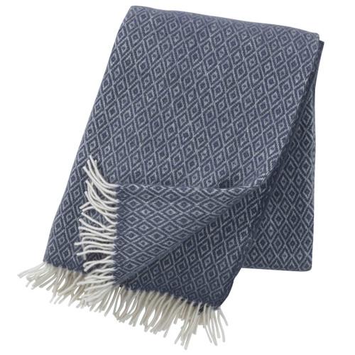 Brand New Klippan 100% Lambs Wool Smokey Blue Stella Blanket 130cm x 200cm