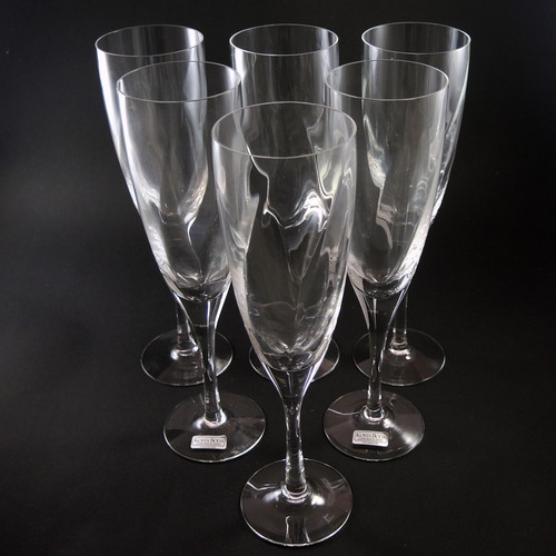 6 Vintage Kosta Boda Hand Made Chateau Champagne Flutes Bertil Vallien