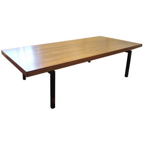 Vintage Danish Rosewood Coffee Table Steel Legs Johannes Aasbjeg for Illums Bolighus