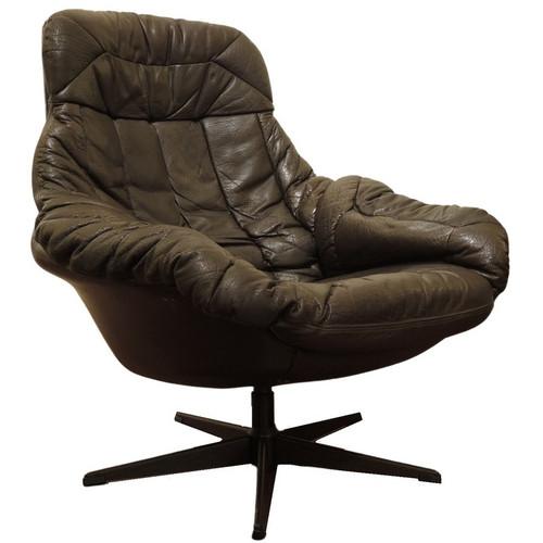 Vintage Mid Century Danish Bramin Brown Leather Swivel Chair
