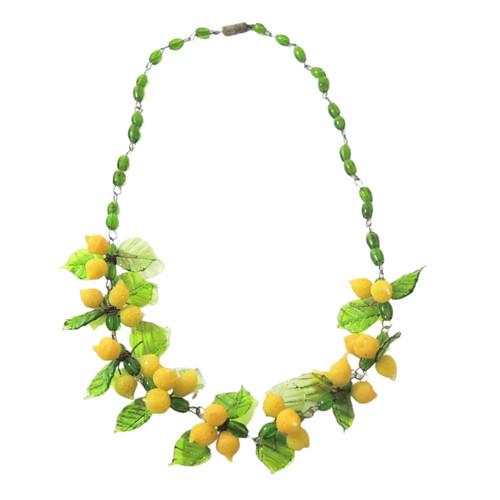 1950's Venetian Art Glass Lemon Necklace Tutti Frutti