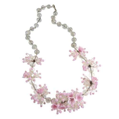 Vintage 1950's Venetian Art Glass Pink Flower Bead Necklace