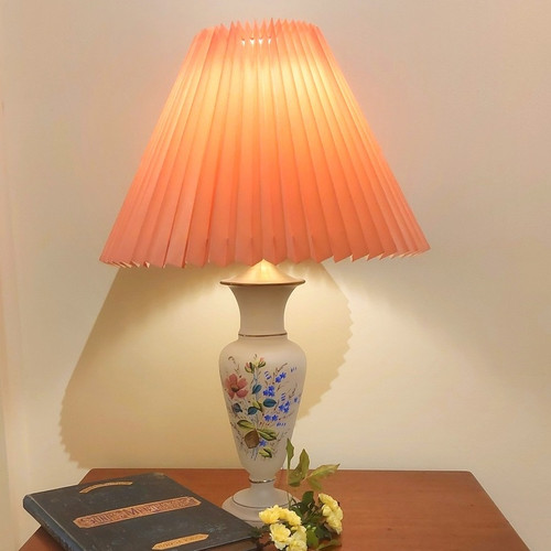 Antique Glass Based Table Lamp with hand painted Flowers and Pleated Shade
