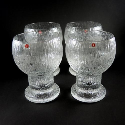 4 Large Vintage Iittala Kekkerit Glasses Goblets for Beer or Wine 14cm
