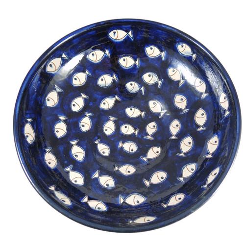 Vintage Large Scandinavian Sgraffito Cobalt Blue Fish Display Fruit Bowl