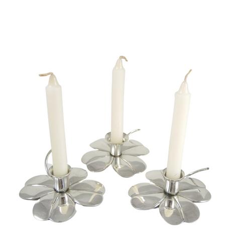 3 Mid Century Vintage Danish Carl Christiansen Silver Plate Clover Leaf Candle Sticks