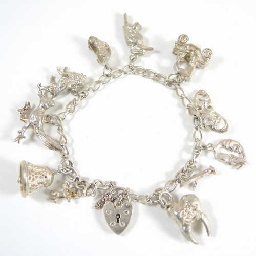 Vintage Sterling Silver 11 Charm Bracelet with Heart Clasp
