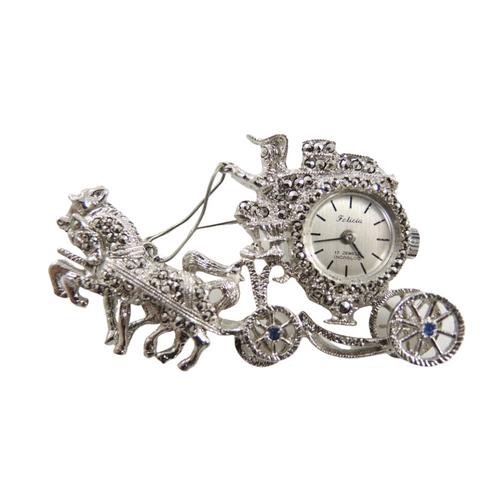 Vintage Felicia Rhodium Plate Marcasite Horses & Carriage Watch Brooch