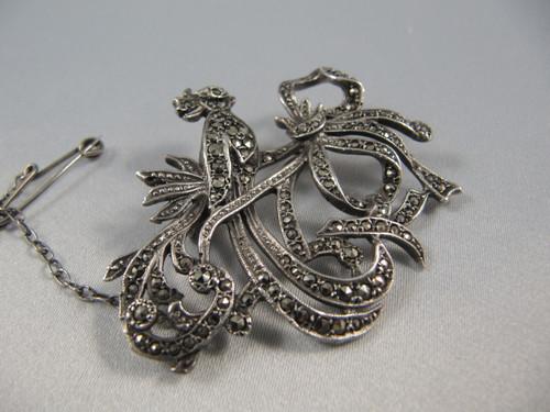Art Deco Vintage Solid Silver Marcasite Bird & Bow Brooch