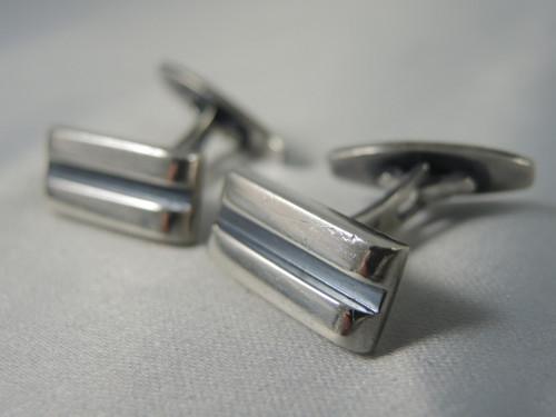 Vintage Mid Century Modern Hans Hansen Sterling Silver Cuff links