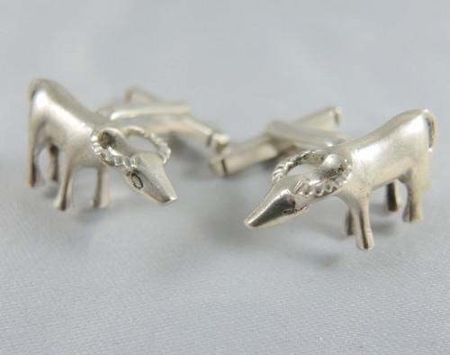 Vintage Sterling Silver cuff links Bull Buffalo design