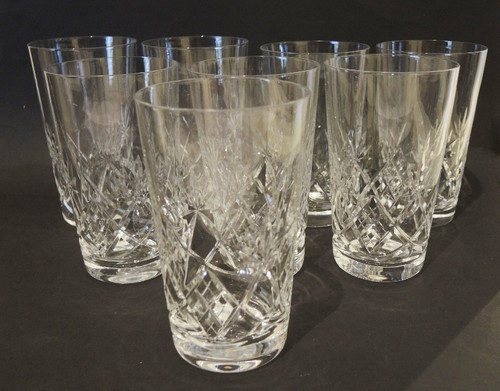 8 Vintage cut crystal Val St Lambert by Holmegaard Annette Long Drink glasses