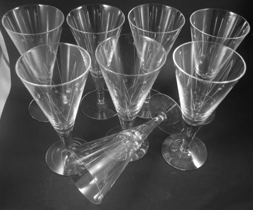 8 Vintage Holmegaard Clausholm Red Wine Glasses Flutes Per Lutkin 1957