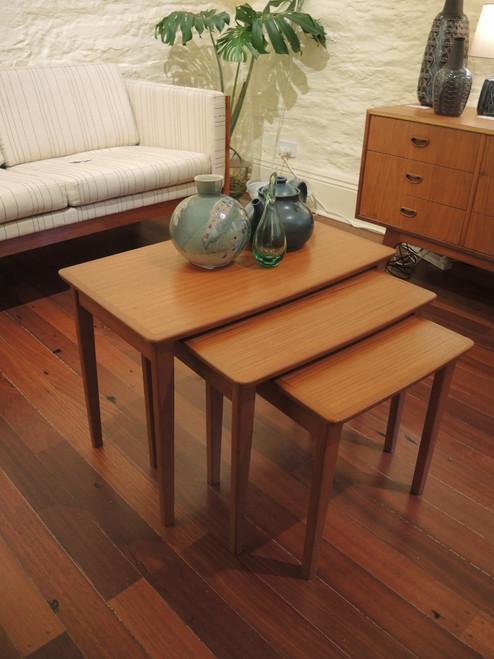 Vintage Australian Noblett Nest of three Teak coffee tables