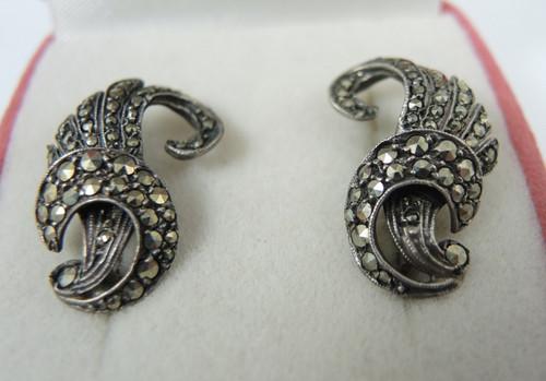 Art Deco Sterling Silver Marcasite Clip on Earrings