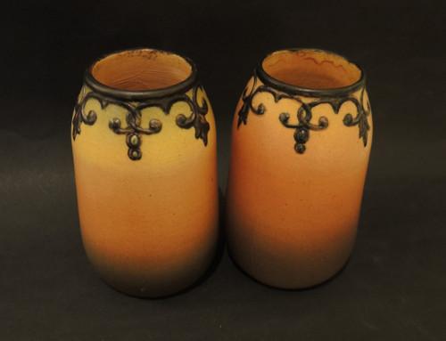 Art Deco Vintage Danish Art Pottery Ipsens Pair of Vases