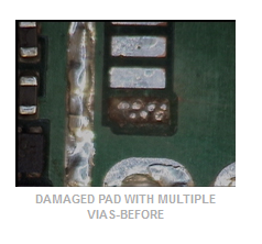 Damaged Pad with Multiple Vias-Before