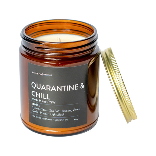 Quarantine & Chill - Amber Tumbler with Cotton Wick