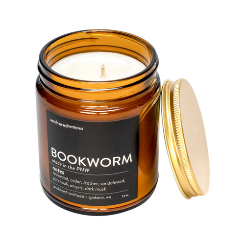 Bookworm - Amber Tumbler with Cotton Wick
