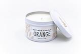 orange candle tin soy handmade