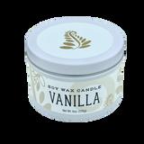 vanilla soy wax candle white tin