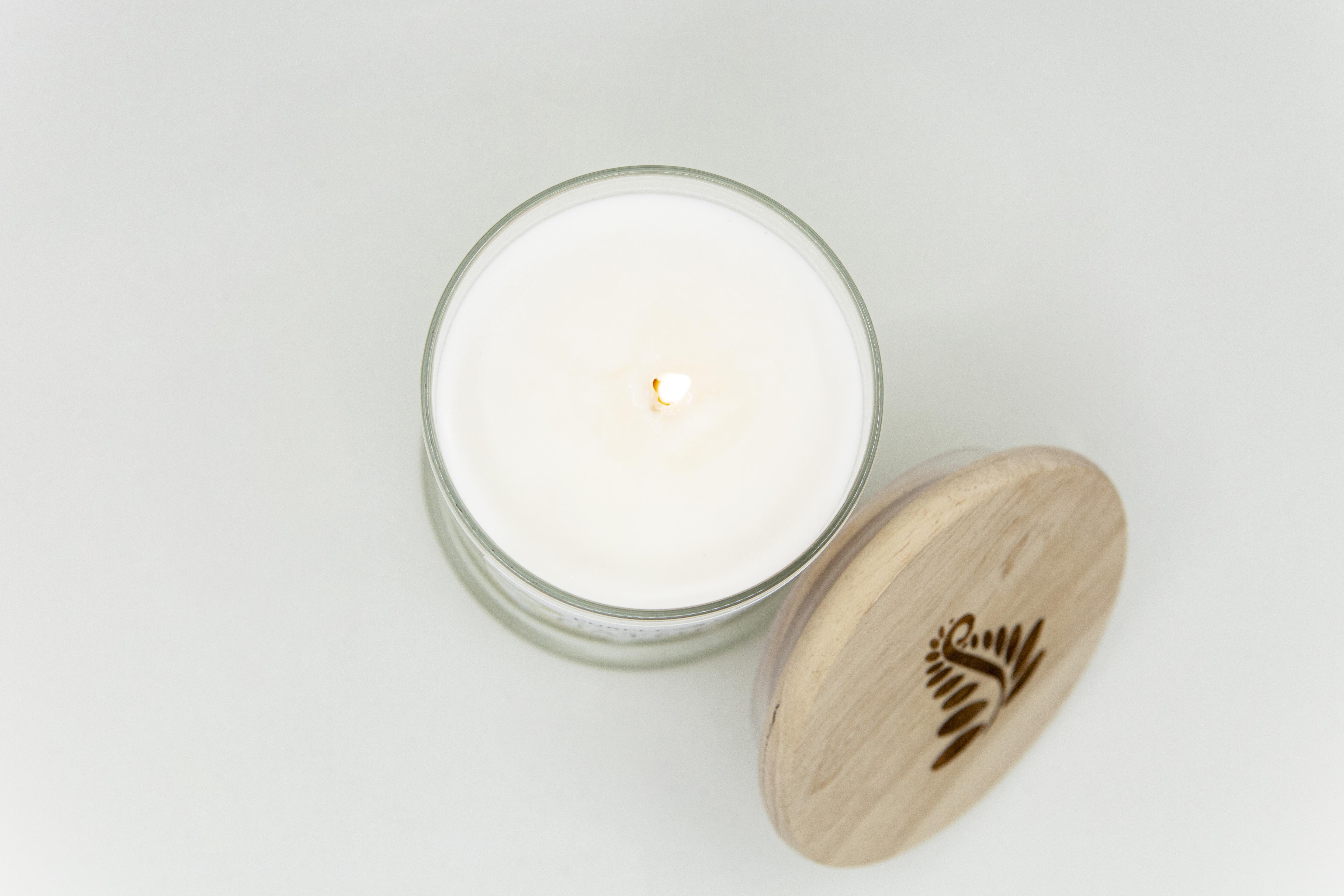 lavender soy candle wood lid glass jar