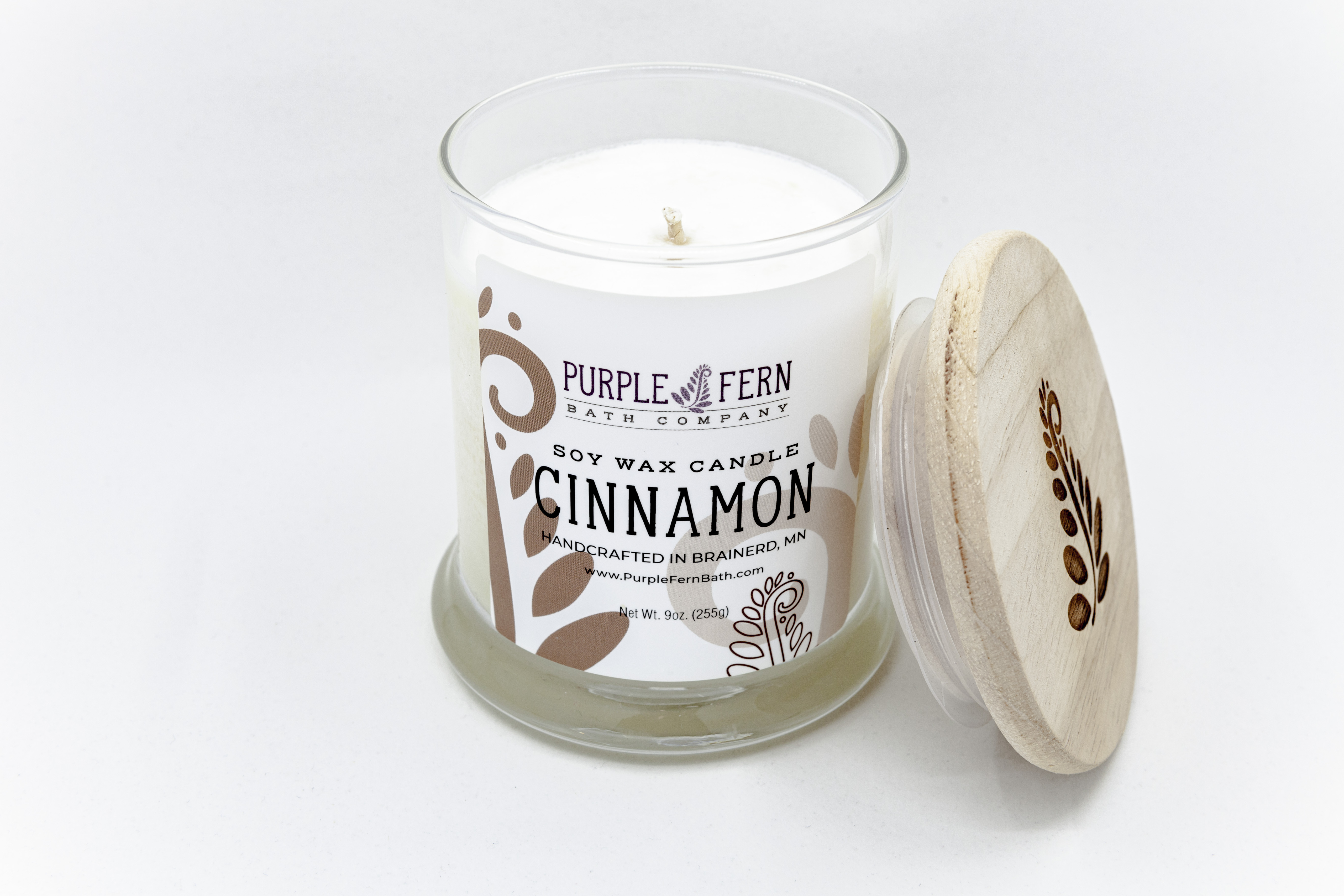 cinnamon soy candle glass jar handcrafted