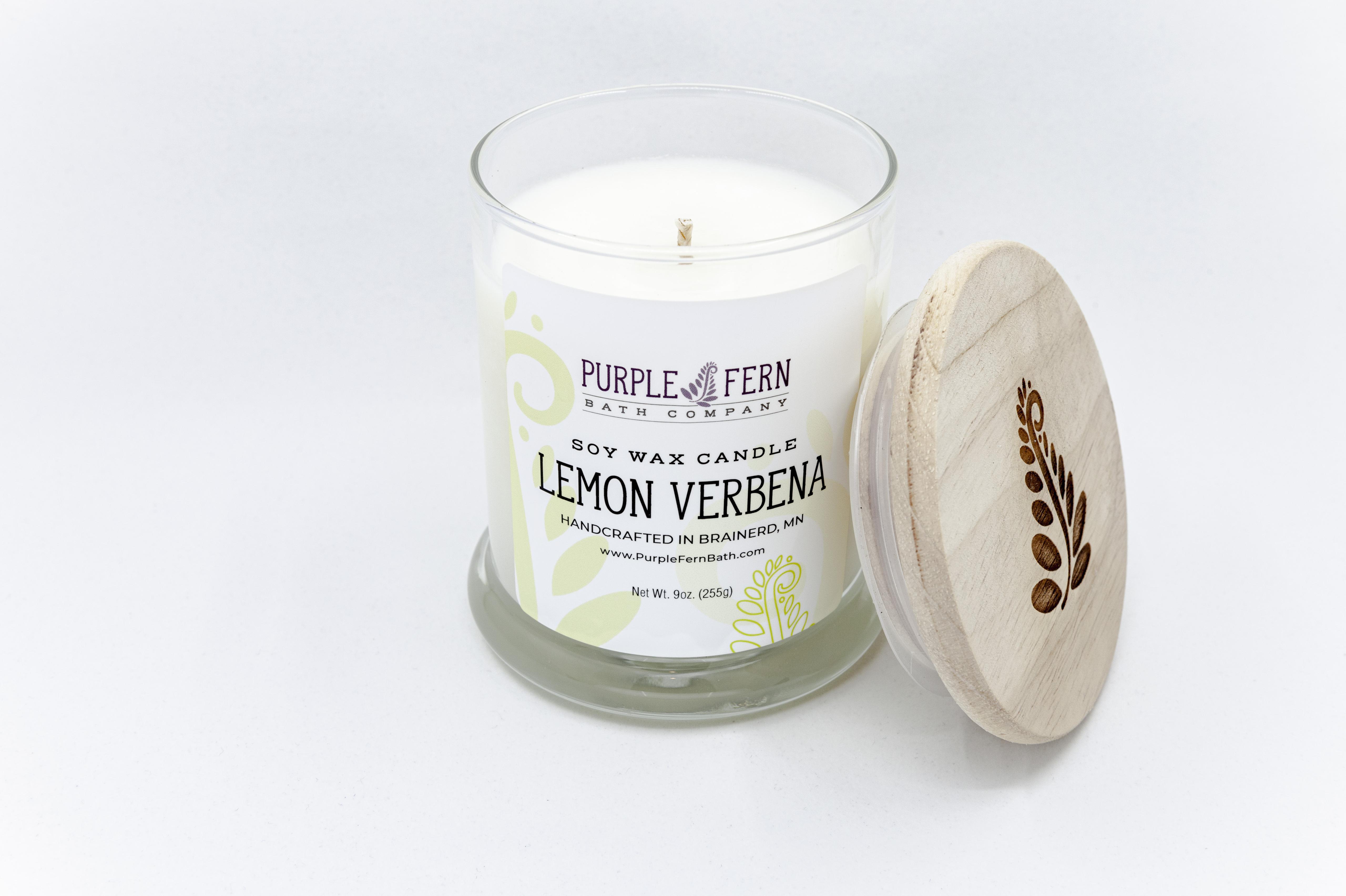 lemon verbena soy candle handcrafted glass jar wood lid
