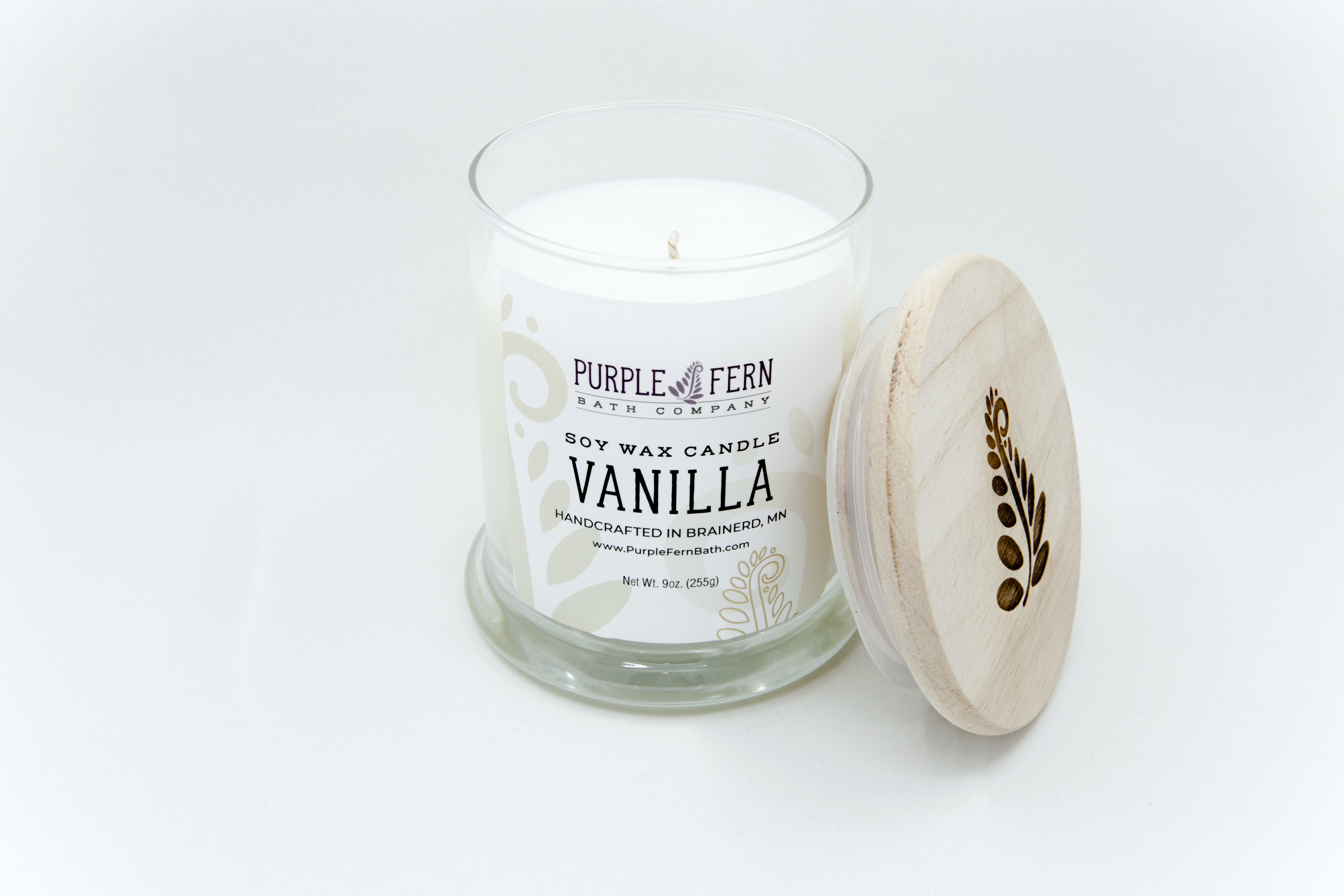 vanilla soy wax candle glass jar handcrafted