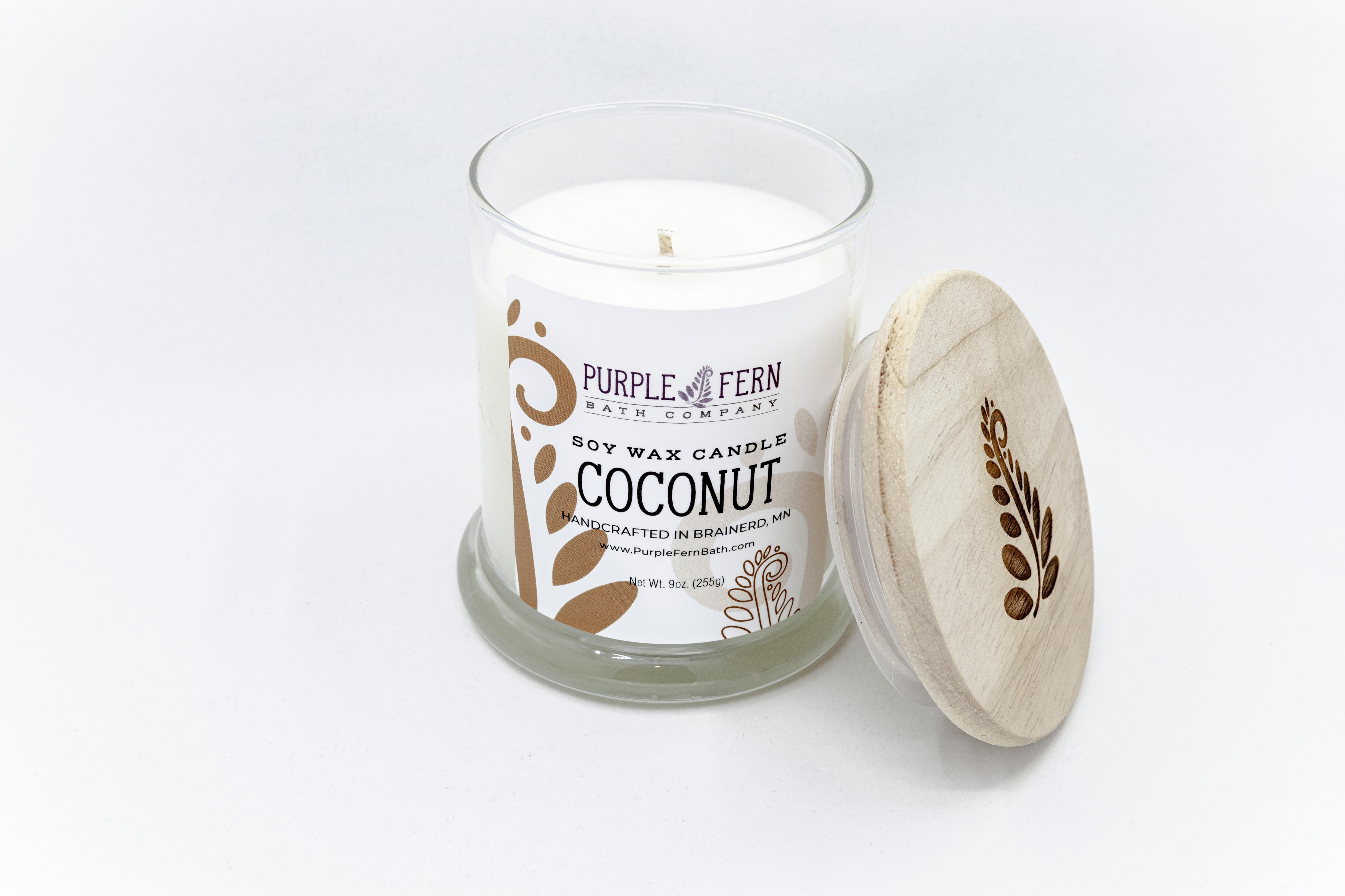 coconut soy wax candle glass jar lid