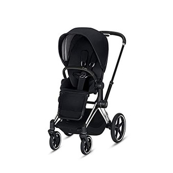 CYBEX ePriam Stroller with Chrome/Black Frame and Premium Black Seat