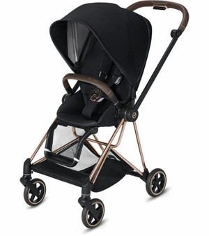 CYBEX Mios Stroller with Rose Gold Frame and Premium Black Seat