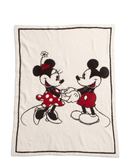"Barefoot Dreams CozyChic Classic Mickey & Minnie Mouse Blanket, Cream Multi - Size 45"" x 60"""