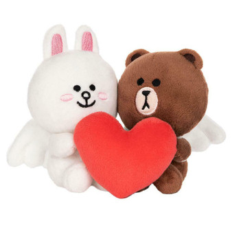 """Gund Line Friends Brown And Cony Cupid Love 2-PACK, 4"""""""