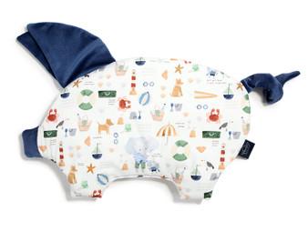 "La Millou Velvet Sleepy Pig Pillow - French Riviera Boy - Harvard Blue, Size 12"" x 18"" in."