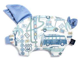 """La Millou Velvet Sleepy Pig Pillow - Route 66 Colour - Dove Blue, Size 12"""" x 18"""" in."""
