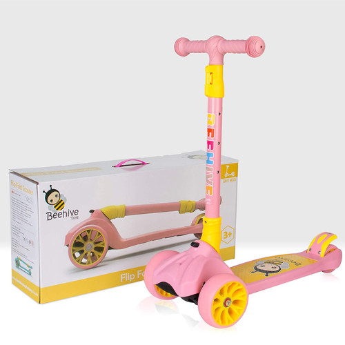 pink folding scooter and packaging