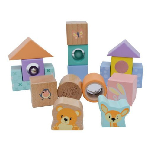 colourful wooden set of discovery blocks for young children