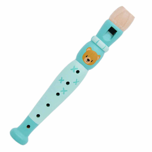 wooden children's flute featuring image of a bear