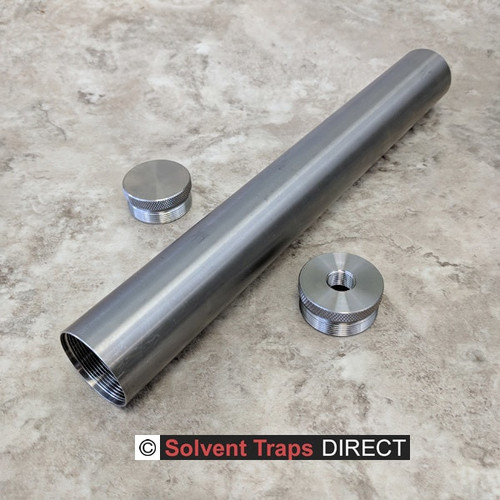 D-Cell Titanium Solvent Trap 12 in Kit End Cap, Thread protector 1-2x28 Unfinished ST_D-Cell_12in_Kit_Ti_EC_TP_1-2x28_UF
